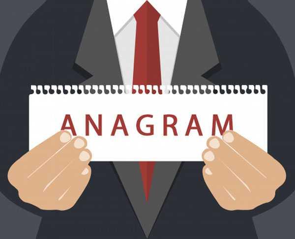 anagram quiz ilustration - business man holding paper anagram
