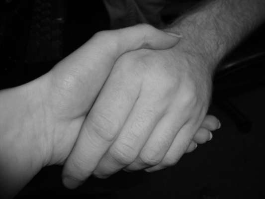 lending a hand bw image