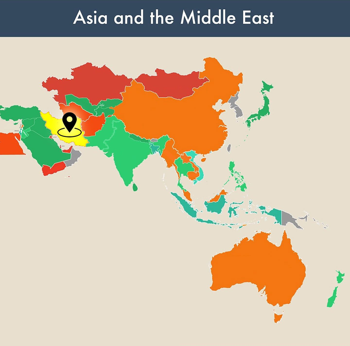 countries of the world empty map - iran image