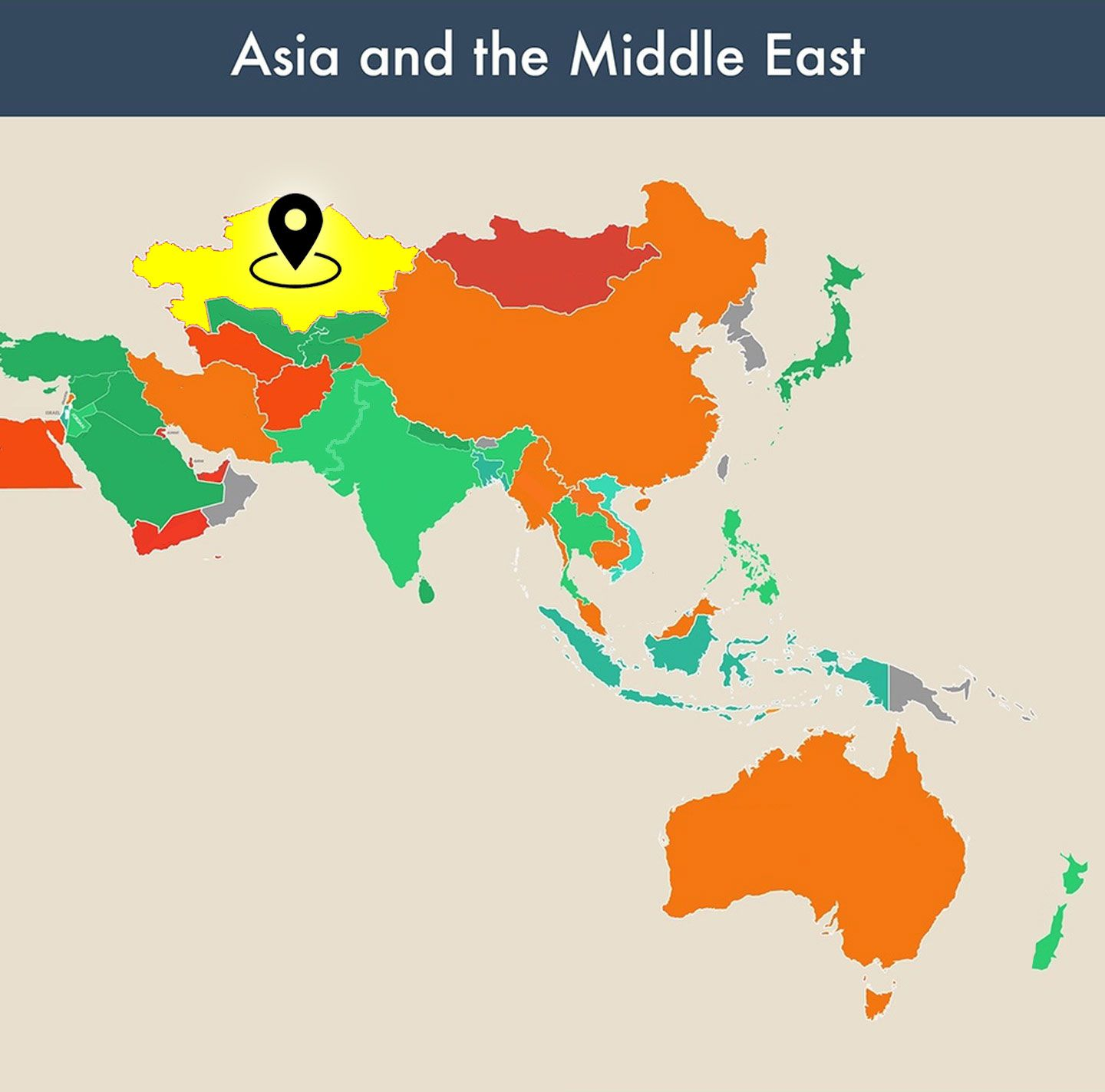 countries of the world empty map - kazakhstan image