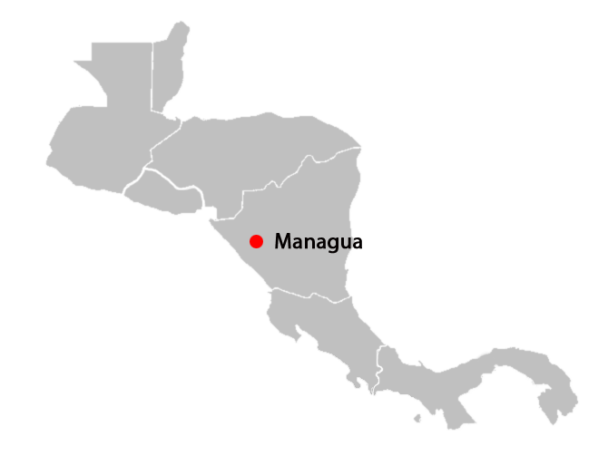 central american countries and capitals map - managua-blank-map