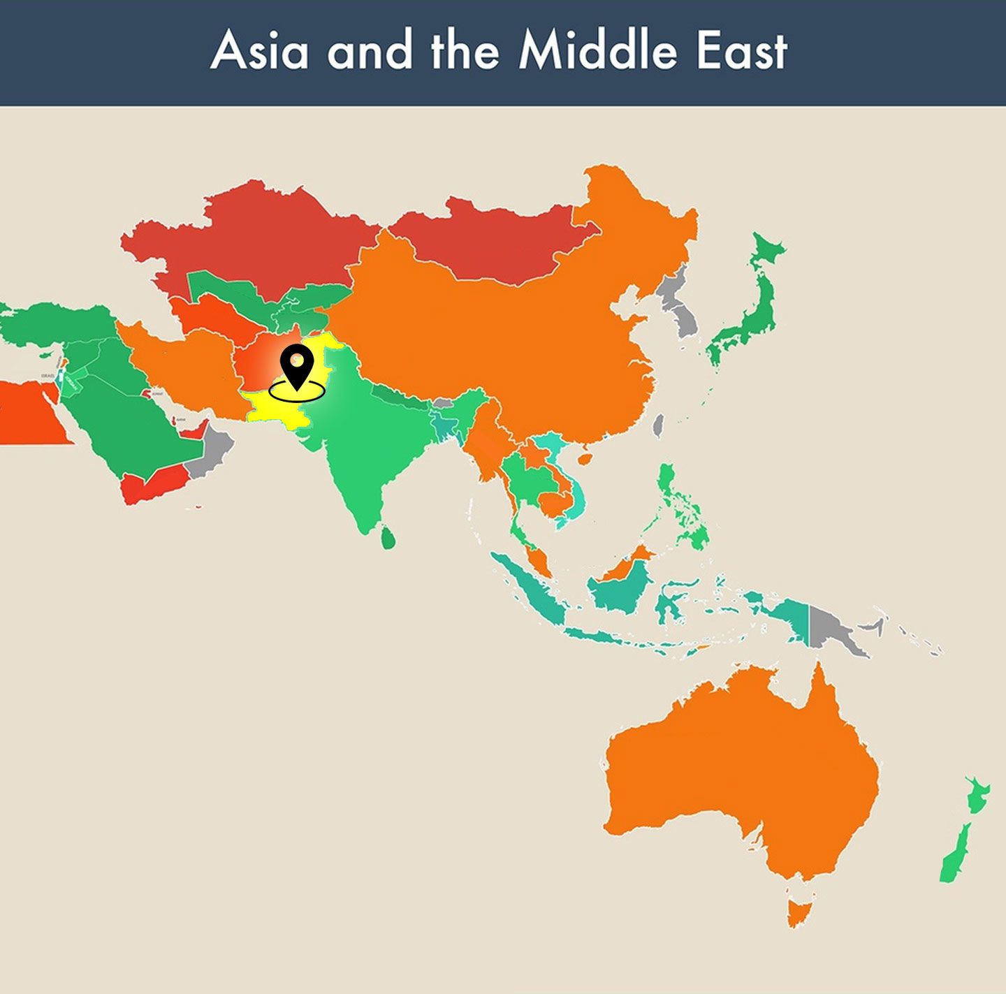 countries of the world empty map - pakistan image