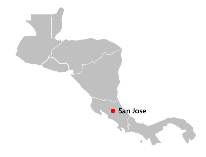 central american countries and capitals map - san-jose-blank-map