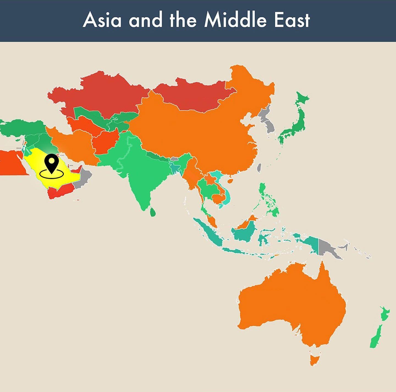 countries of the world empty map - saudi arabia image