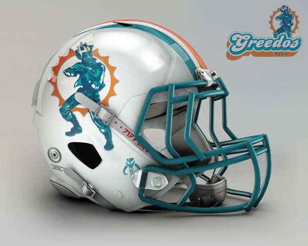Miami Dolphins rodia greedos nfl team helmet star wars costum img