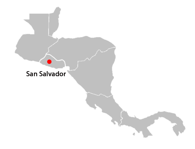 central american countries and capitals map - san-salvador-blank-map
